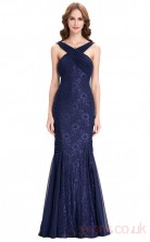Mermaid Halter Long Light Navy Lace Prom Dresses(PRJT04-1983)