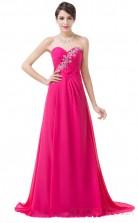 A-line Sweetheart Neckline Long Fuchisia Chiffon Prom Dresses(PRJT04-1987)