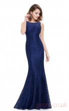 Mermaid Bateau Neckline Long Royal Blue Lace Prom Dresses(PRJT04-1990)
