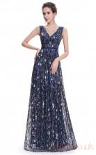 A-line V-neck Long Royal Blue Sequined Prom Dresses(PRJT04-1991)