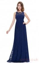 A-line Bateau Neckline Long Royal Blue Lace Prom Dresses(PRJT04-1995)