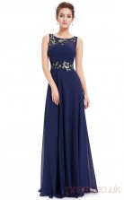A-line Scoop Neckline Long Royal Blue Chiffon Prom Dresses(PRJT04-1998)