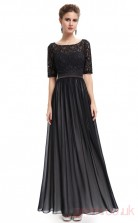 A-line Scoop Neckline Half Sleeve Ankle-length Black Chiffon , Lace Prom Dresses with Half Sleeves (PRJT04-1999)