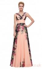 A-line V-neck Long Printing Chiffon Prom Dresses(PRJT04-2003)