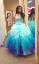 Multipatterned Tulle Sweetheart Floor-length Ball Gown Quincenera Dress(JT2004)