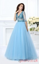 Corn Flower Blue Tulle V-neck Floor-length Princess Quincenera Dress(JT2009)