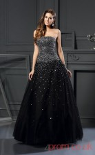 Black Tulle Strapless Floor-length A-line Quincenera Dress(JT2012)