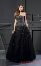 Black Tulle Strapless Floor-length A-line Quincenera Dress(JT2012)