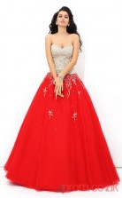 Red Tulle Sweetheart Floor-length A-line Quincenera Dress(JT2019)