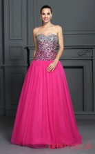Fuchisa 30D Chiffon Sweetheart Floor-length Princess Quincenera Dress(JT2025)