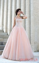 Pearl Pink Organza Strapless Floor-length Princess Quincenera Dress(JT2028)