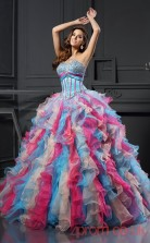 Multipatterned Organza Sweetheart Floor-length Ball Gown Quincenera Dress(JT2035)