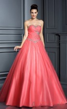 Watermelon Organza Sweetheart Floor-length A-line Quincenera Dress(JT2038)