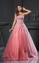 Salmon Organza Sweetheart Floor-length Princess Quincenera Dress(JT2039)