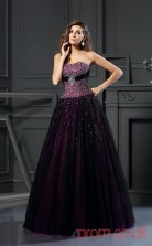 Grape Tulle Sweetheart Floor-length Princess Quincenera Dress(JT2048)