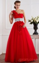 Red Organza One Shoulder Floor-length Ball Gown Quincenera Dress(JT2054)