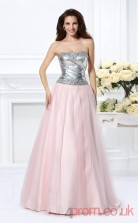 Blushing Pink Sequined Tulle Strapless Floor-length A-line Quincenera Dress(JT2058)
