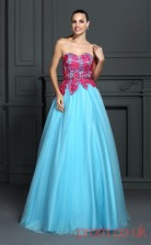 Sky Blue Lace Organza Sweetheart Floor-length A-line Quincenera Dress(JT2060)