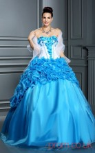 Blue Satin Organza Strapless Floor-length Ball Gown Quincenera Dress(JT2063)