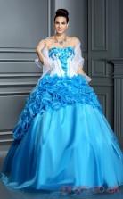 Blue Satin Organza Strapless Floor-length Ball Gown Quincenera Dress(JT2063)