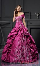 Dark Fuchsia Taffeta Off The Shoulder Floor-length Ball Gown Quincenera Dress(JT2064)