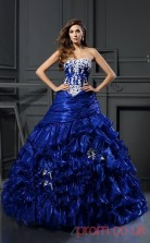 Royal Blue Organza Sweetheart Floor-length Ball Gown Quincenera Dress(JT2066)