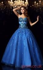 Blue Organza Sweetheart Floor-length Ball Gown Quincenera Dress(JT2067)