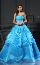 Dodger Blue Organza Strapless Floor-length Ball Gown Quincenera Dress(JT2069)