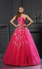 Fuchisa Tulle Sweetheart Floor-length Ball Gown Quincenera Dress(JT2072)