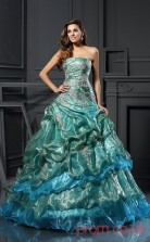 Multipatterned Organza Strapless Floor-length Ball Gown Quincenera Dress(JT2074)