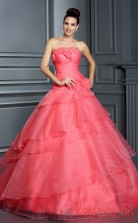 Watermelon Organza Strapless Floor-length Princess Quincenera Dress(JT2077)