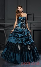 Ink Blue Taffeta Sweetheart Floor-length Princess Quincenera Dress(JT2078)