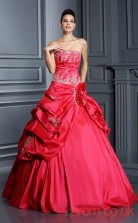 Red Taffeta Strapless Floor-length Ball Gown Quincenera Dress(JT2081)