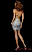 Silver Sequined Sheath Short Strapless Graduation Dress(JT2091)