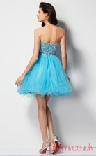 Deep Sky Blue Tulle A-line Short Sweetheart Graduation Dress(JT2093)