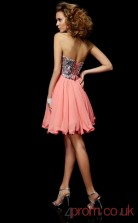Watermelon Sequined Chiffon A-line Short Sweetheart Graduation Dress(JT2095)