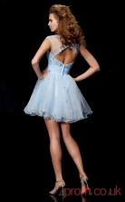 White Lace Tulle A-line Short Bateau Graduation Dress(JT2100)