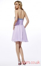 Lilac Chiffon A-line Short Sweetheart Graduation Dress(JT2103)