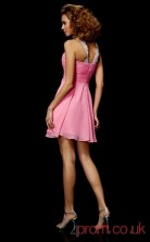 Pink Chiffon A-line Short Halter Graduation Dress(JT2105)