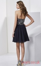 Black Chiffon A-line Short Sweetheart Graduation Dress(JT2107)