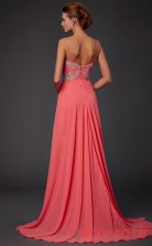 Watermelon Chiffon A-line Floor-length Straps V-neck Graduation Dress(JT2114)