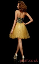 Gold Sequined Tulle A-line Short Sweetheart Graduation Dress(JT2116)