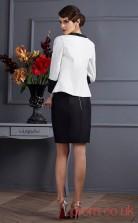 Black Charmeuse Sheath/Column Short Strapless Long Sleeve Two Piece Prom Dress(JT2151)