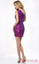 Blue Violet Taffeta Sheath Short One Shoulder Graduation Dress(JT2153)