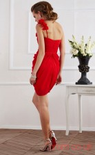 Red Chiffon Sheath Short One Shoulder Graduation Dress(JT2154)