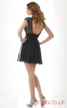 Black Chiffon A-line Short V-neck Short Sleeve Graduation Dress(JT2155)