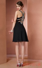 Black Chiffon A-line Short V-neck Graduation Dress(JT2159)
