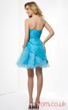 Deep Sky Blue Taffeta Sheath Short Sweetheart Graduation Dress(JT2161)