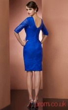 Blue Tulle Sheath Short Asymmetric Half Sleeve Graduation Dress(JT2167)