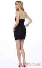 Black Chiffon Tulle Sheath Short One Shoulder Long Sleeve Graduation Dress(JT2169)